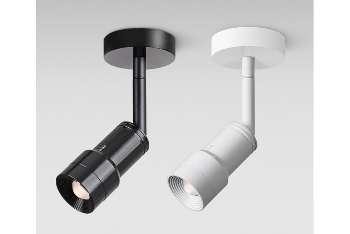 Variable angle surface-mounted spotlight