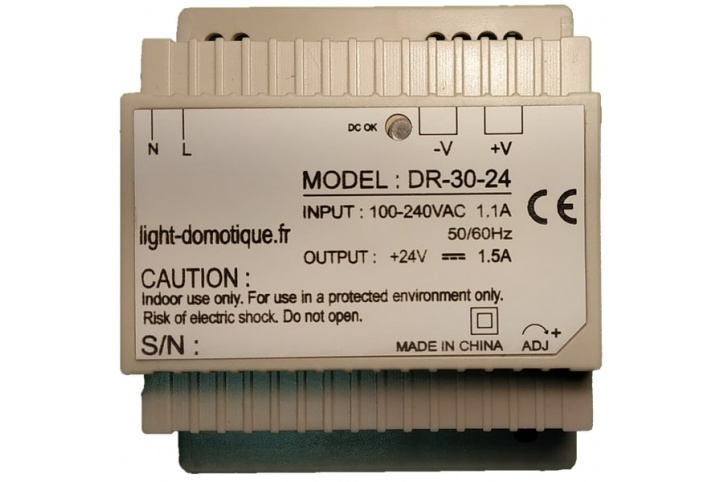 L&D 24V DC 30W 1.5A din rail installation power supply DR-30-24