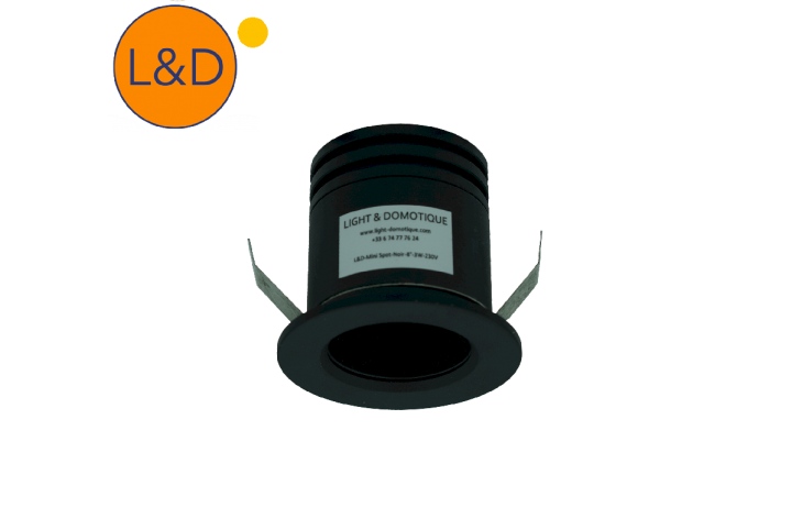 Receesed mini spot - Black - 8° - 3W - AC 230V
