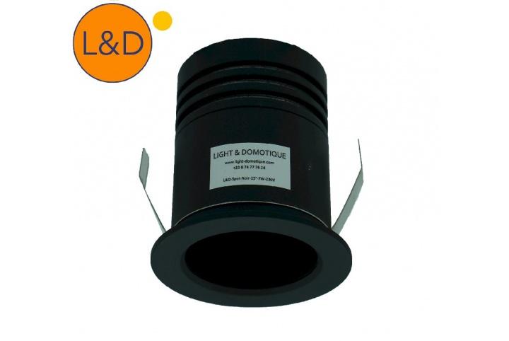 Recessed LED spot - black - 15° - 7W - AC230V