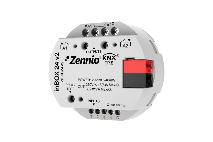 Zennio inBOX 24 v2 Multifunction actuator  for flush mounting 2 outputs 4 inputs ZIOIB24V2