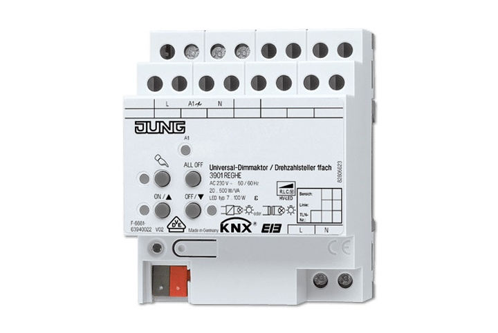 JUNG 1 output KNX dimmer actuator/speed controller 500W 3901REGHE