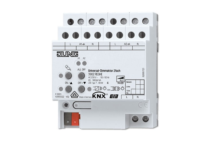 JUNG 2 channels KNX dimmer actuator 2x300W 3902REGHE