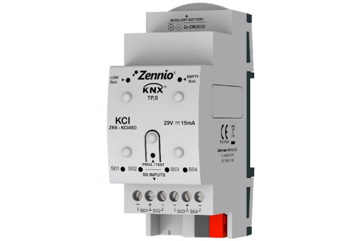 Zennio KCI 4 S0 KNX interface for Consumption Meters ZRX-KCI4S0