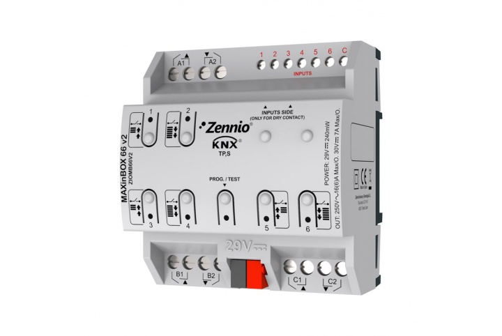 MAXinBOX 66 V2 Zennio Actuator 6 outputs 6 inputs KNX -  ZIOMB66V2