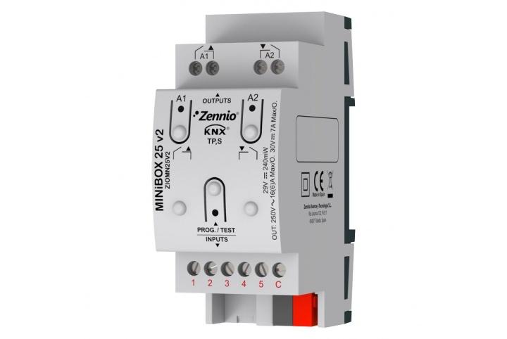 MINiBOX 25 V2 Zennio Actionneur 2 outputs 5 inputs KNX - ZIO-MN25V2