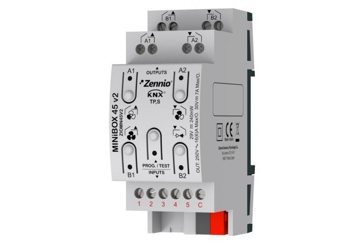 MINiBOX 45 V2 Zennio Actuator 4 outputs 5 inputs KNX - ZIO-MN45V2
