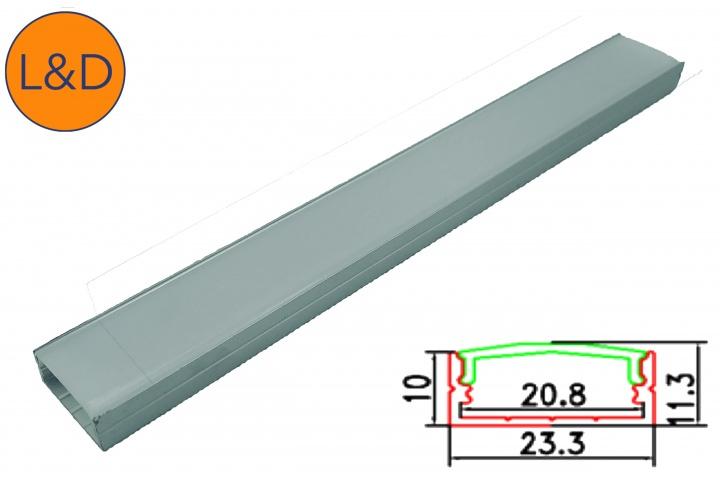 Large milky finish aluminium profile