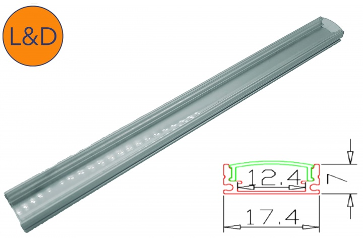 Transparent finish aluminium profile for IP20 white LED strip