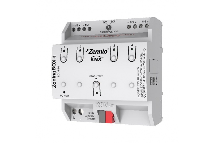 Zennio ZoningBOX 4 Zoning Air-Conditioning actuator for up to 4 zones ZCL-ZB4