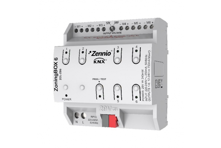 Zennio ZoningBOX 6 Zoning Air-Conditioning actuator for up to 6 zones ZCL-ZB6